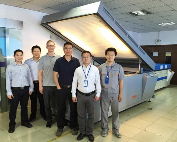 From left to right: Chawanwit Rassameepotch, Supachai Theravithayangkura, Thomas Weik, Yushan Lee (Flint Group), Tan Miao and Cai Lei (Sinwa) after the successful installation of a nyloflex® NExT Exposure